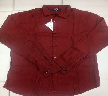 full sleeve casual cotton shirt for men maroon