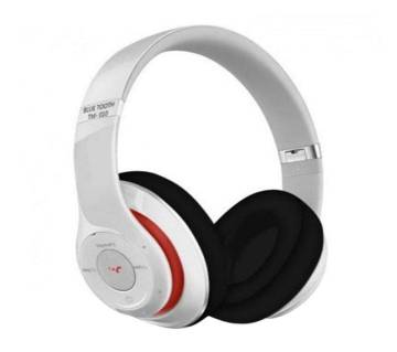 TM-010 Bluetooth Headphone with FM Radio and TF Card Player - White and Black