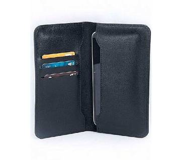 Black Leather Wallet with Mobile Cover for Men