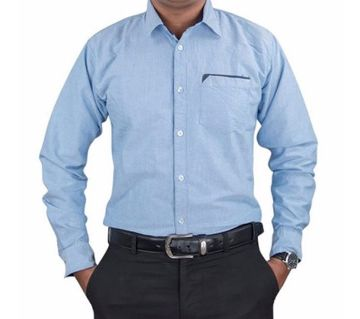 Pure Cotton Shirt For Mens - Blue