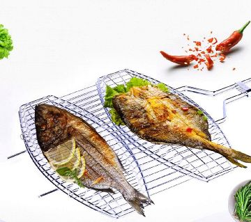 Portable fish grill BBQ made by steal and net
