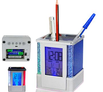 Digital Pen Holder Clock with LED Light for Night