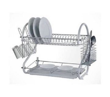 2 Layer Dish Drainer kitchen Item storage Rack Ash color
