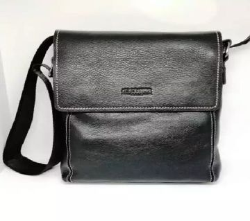 MENS SHOULDER BAG WITH FULL LATHER AND LONG SHOLDER BELT BLACK COLOR