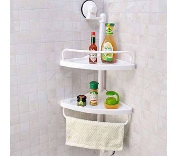 2 layer corner bathroom rack white color