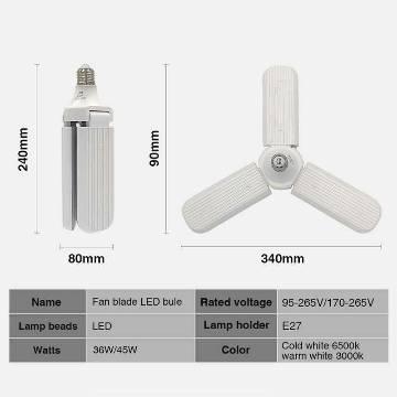 2 PCS Fan Blade LED 45W LED Bulb Super Bright