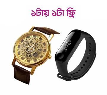 WRM10 - PU লেদার রিস্ট ওয়াচ ফর মেন - ব্রাউন +(Skin Touch) Bracelet LED ডিজিটাল ওয়াচ (free)