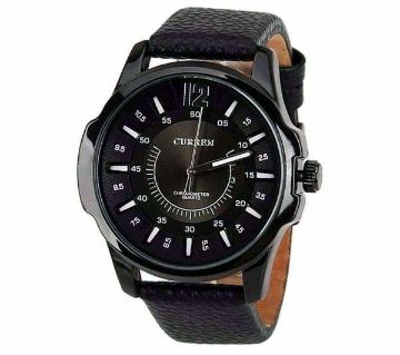 Leather Analog watch for man-black