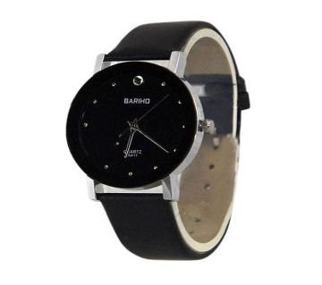 WB01 - Leather Analog Watch For Men - Black