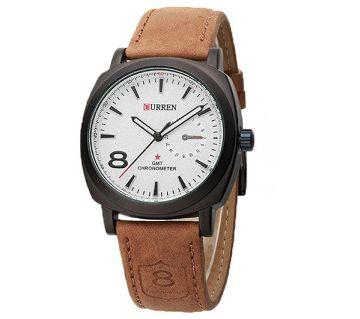 Analog Wrist Watch - (Brown and White)