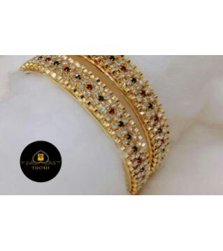 Diamond Cut Antic Bangles