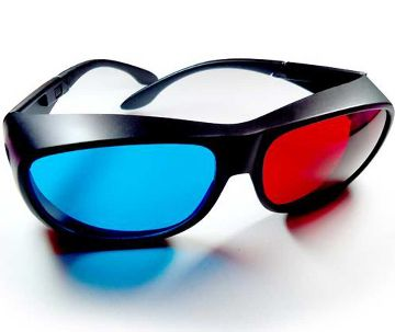New 3D Glasses (Red & Blue & Black)