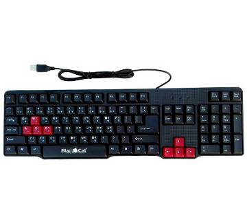 Black Cat usb Keyboard With Gaming Key