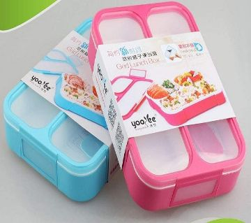 1000ML Superior Quality Leak Proof Grid BPA Free 3 Compartment Lunch Box with Spoon