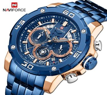 NAVIFORCE Sport Chronograph  Military Stainless Steel Men Watch - 9175BE