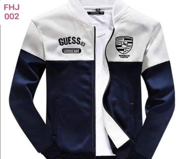 cotton winter white jacket white blue