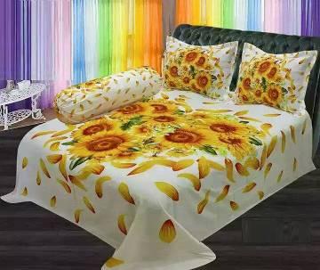 Cotton double size bed sheet set-3 piece