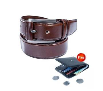 Brown Artificial belt for Men + Black Artificial Leather Wallet For Men