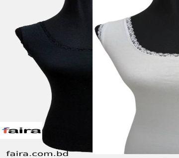 Ladies sleeveless T-shirt white & black (2 pcs set)