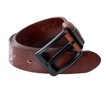 Chocolate artificial leather belt for men