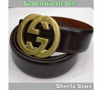 Golden buckle artificial leather belt for men