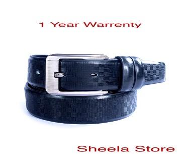Black artificial leather belt for men