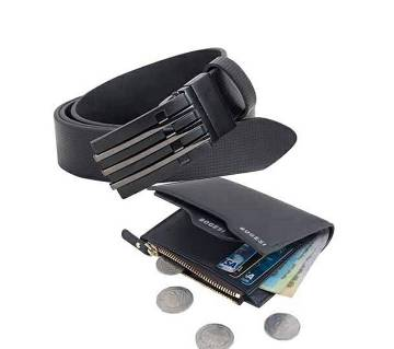 Gents PU Leather belt & wallet combo