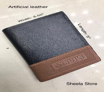 Black artificial leather wallet for men