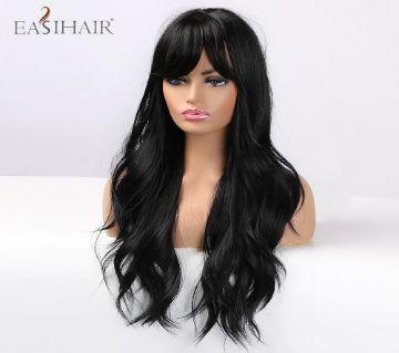 Synthetic Wig 26 inch Matte Women Wig Black