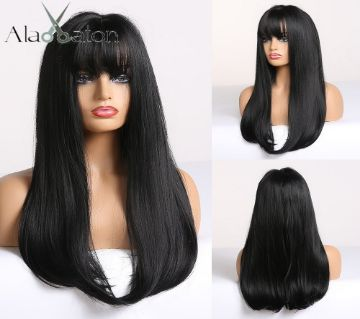 ImportedTemperature Fiber Synthetic Black Wig