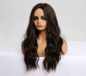 "Imported Wigs 28"" Long Wavy Hair Heat Resistant Cosplay Wig for Women (Dark Brown)"