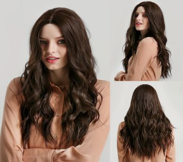 26 Inches Long Synthetic Natural Brown Ombre Hair Wigs Heat Resistant Hair Wigs for Women