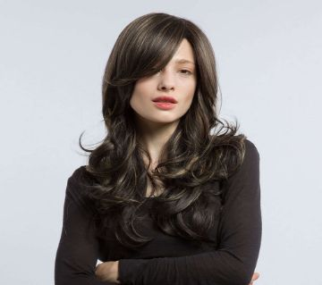 Straight Color Highlight Lace Front Hair Wig For Women