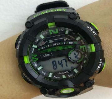 LASIKA W-H9015 Water Resistance/ Waterproof 50m Silicon Digital Watch for Men With Lasika Box - Green