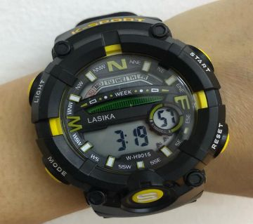 LASIKA W-H9015 Water Resistance/ Waterproof 50m Silicon Digital Watch for Men With Lasika Box - Yellow