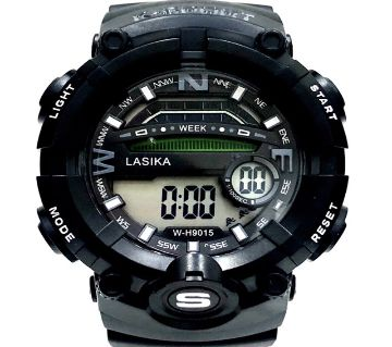 LASIKA W-H9015 Water Resistance/ Waterproof 50m Silicon Digital Watch for Men With Lasika Box - Black