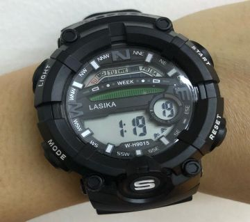 LASIKA W-H9015 100% Water Resistance/ Waterproof 50m Silicon Digital Watch for Men With Lasika Box - Black