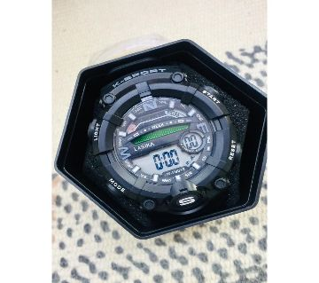 LASIKA W-H9015 100% Water Resistance/ Waterproof 50m Silicon Digital Watch for Men With Box - Black
