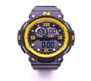 LASIKA W-H9013 Waterproof Silicon Watch for Men With Box - Yellow