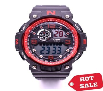 LASIKA W-H9013 Waterproof Silicon Watch for Men With Box - Red