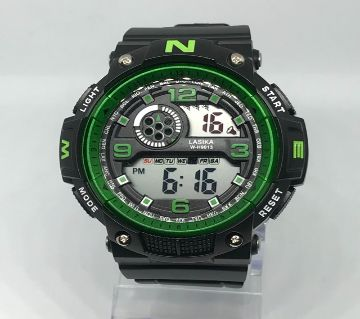 LASIKA W-H9013 Waterproof Silicon Watch for Men With Box - Green