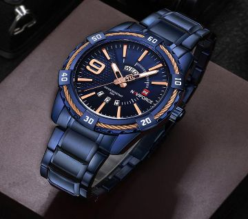 Product details of Naviforce NF9117 - Royal Blue Stainless Steel Analog Watch for Men - Royal Blue