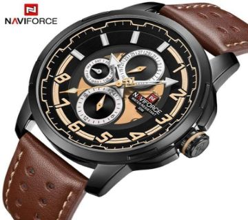 Product details of Naviforce Genuine Leather Chronograph Wrist watch for Men - NF9142M