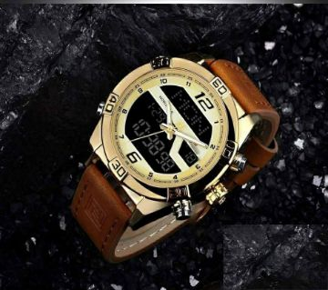 Product details of NAVIFORCE NF9128 Brown PU Leather Wrist Watch for Men - Brown & Golden