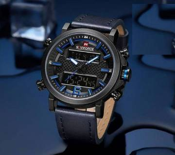 Product details of NAVIFORCE NF9135 Black PU h: 2.2 cmLeather Wrist Watch for Men - Blue