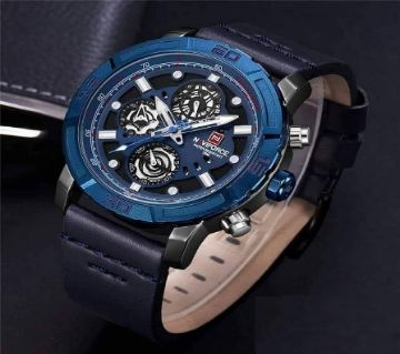 Product details of Naviforce Blue Leather Wrist Watch for Men - NF9139M