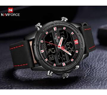NAVIFORCE Men Leisure Sport Watches Military Leather waterproof Quartz
