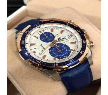 Casio Edifice Chronograph date Blue belt White Dial Mens Gift Watch EFR-539L7CV