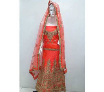 Indian Semi Stitched Embroidered Art Silk Lehenga