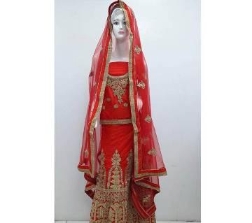 Semi Stitched Indian Bridal Embroidery Art Silk Lehenga
